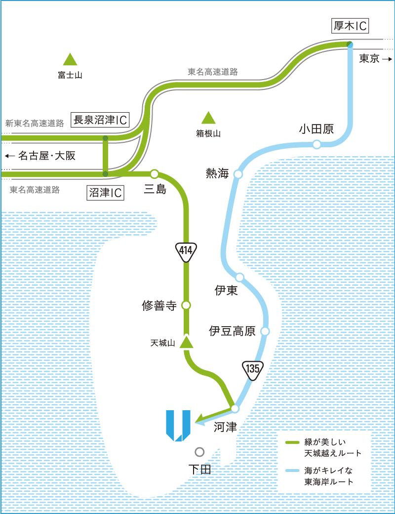 伊豆半島での車のルート