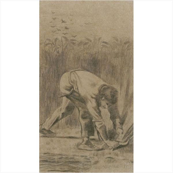 フィンセント・ファン・ゴッホ<br> 《鎌で刈る人(ミレーによる)》 1880年頃